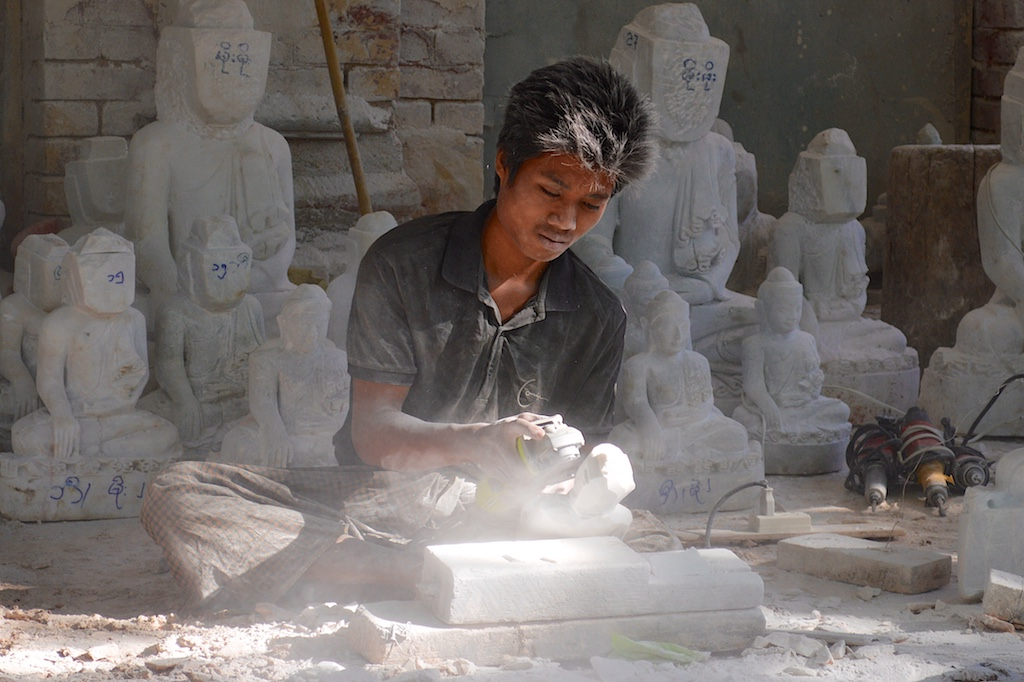 Mandalay Marble Carving Workshops - Grinding Close Up