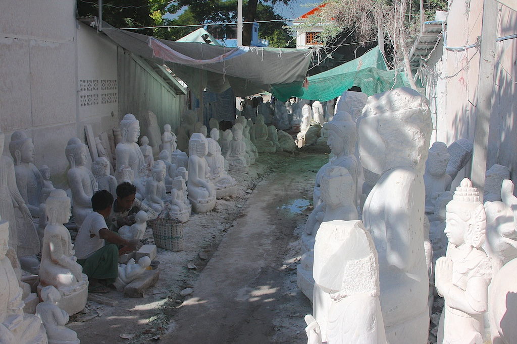 Alley of Buddhas at a Marble Carving Workshop in Mandalay