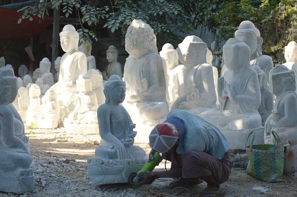 Marble Carving Workshops in Mandalay - Buffing