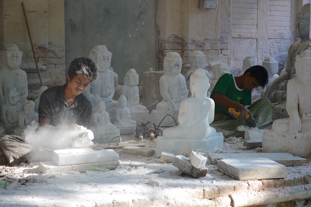 Mandalay Marble Carving Workshops - Grinding