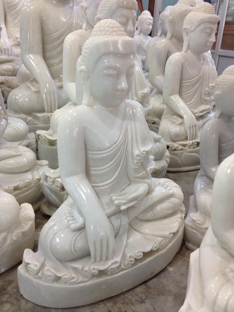 Polished Marble Buddha Carving
