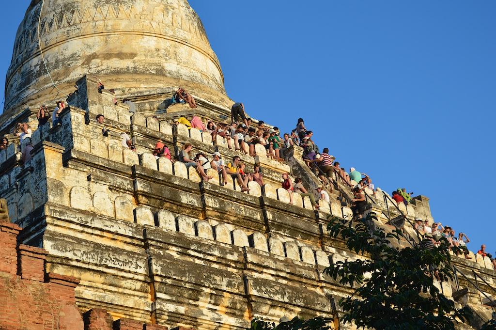 Shwesandaw Pagoda Crowds at Sunset