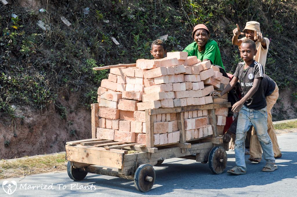 Transporting Bricks Outside Ambalavao