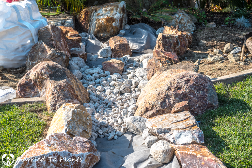 The building of a dry creek bed