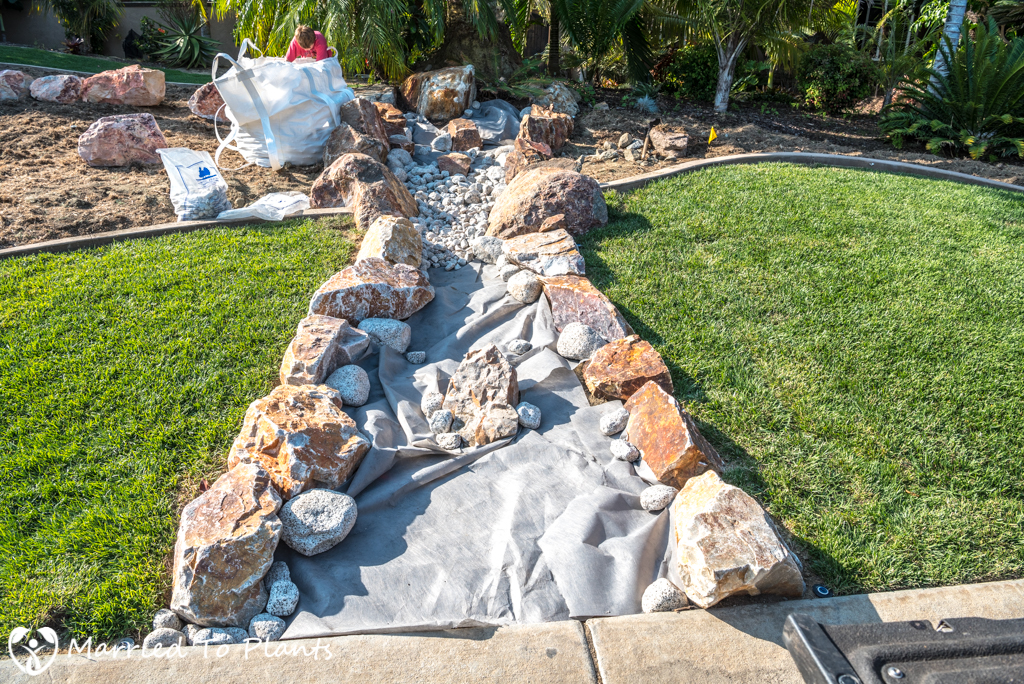 Dry Creek Bed - Medium River Rock Placement